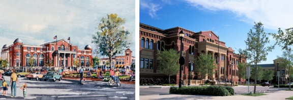 Southlake Town Hall: Schematic Rendering vs. Completed Project