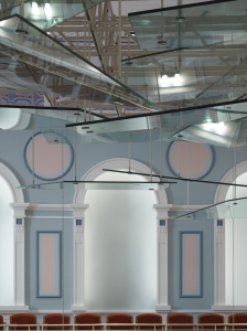 Detail of glass acoustical canopy at The Palladium in Carmel, Indiana
