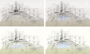 The various moods of the jetted fountain (drawing courtesy of Michael Vergason Landscape).