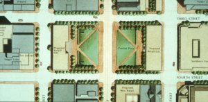 Downtown Fort Worth Master Plan (1988) showing the central plaza straddling Main Street.