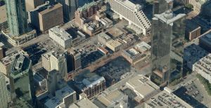 "Sundance Square as it looked in 2010.  The actual ""square"" is the two blocks of parking in the center of the photo."