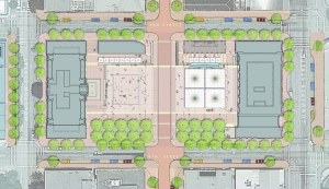 Site Plan showing the proposed plaza with the Westbrook and Commerce Buildings (drawing courtesy of Michael Vergason Landscape).