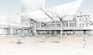 The giant umbrellas as conceived and under construction (drawing courtesy of Michael Vergason Landscape).