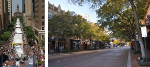 Main Street during the Main Street Arts Festival (left) and during a normal day (right).