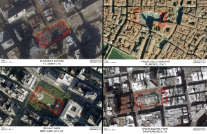 Space comparison studies showing the plan of Sundance Square superimposed on aerial views of various notable public spaces.