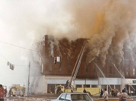 Stuart Opera House when it caught fire in 1980
