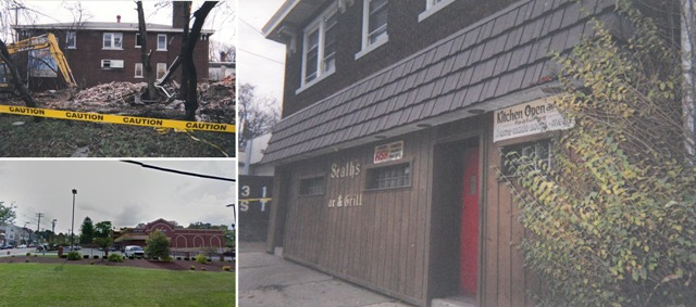 Left: Site of Seath's Bar & Grill just prior to demolition and the view from the same vantage today. Right: The facade of Seath's Bar & Grill