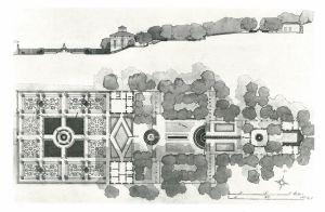 Plan and elevation drawing of The Villa Lante