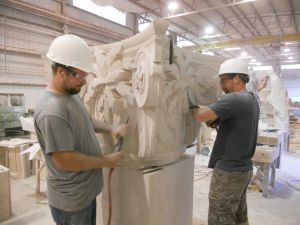 The limestone capitals of the Gailliard Center being carved by hand.