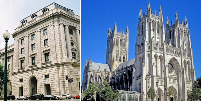 Federal Triangle (left) and the western façade of the National Cathedral