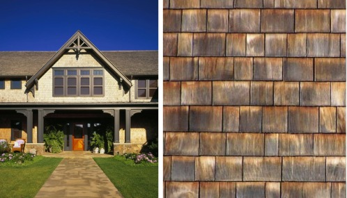 Left: Cedar siding shingles on a residential home. Right: A close up of durable cedar roofing shingles.