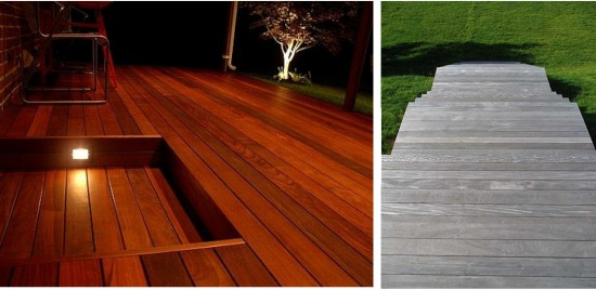 Ipe wood is both visually appealing and durable. Both photos show the wood used for outdoor decking in different finishes.
