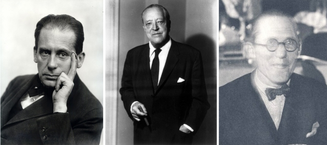 Modernists. From left to right: Walter Gropius, Ludwig va der Rohe, and Le Corbusier
