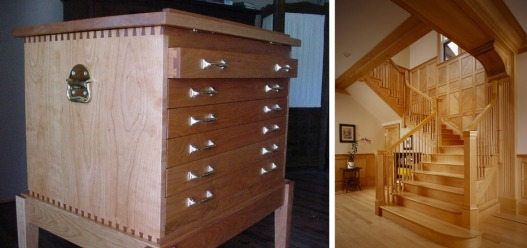 Left: A dresser crafted from cherry wood. Right: a beautiful staircase made from maple.