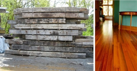 Left: Recycled structural timbers. Right: Heart pine flooring made from previously sunken logs.