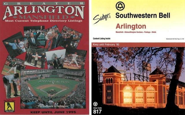 Texas Rangers Ballpark in Arlington was featured numerous times on several editions of the phone book. Above are to editions from 1995.