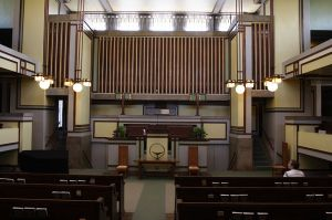 Main worship space in Unity Temple.