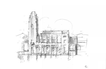 A preliminary massing sketch of the DMSAS-design The Smith Center for the Performing Arts