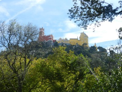 View of the Palace of Pena from Sintra….two hours later, we would reach the top