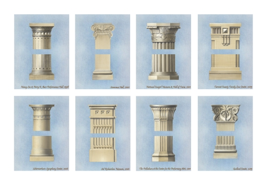 Custom column capitals designed by David M. Schwarz Architects