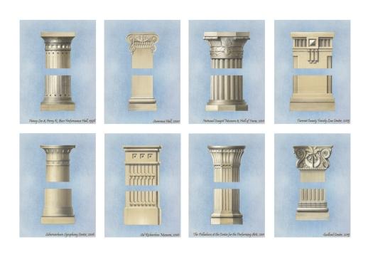 Custom column capitals designed by David M. Schwarz Architects