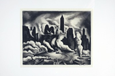 Howard Cook Harbor Skyline Soft-ground etching and aquatint, 1930 Credit line: National Building Museum