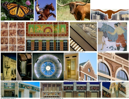 An small portion of iconography gathered during early phases of design for the Fort Worth Arena