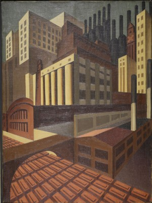 Louis Lozowick Cleveland Oil on canvas, ca. 1924-27 Credit line: Image courtesy of Mary Ryan Gallery, New York
