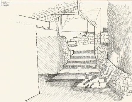 Simena Passage Covered In Between Spaces, sketch by Valerie Sherry