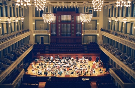 Early tuning exercise at Schermerhorn Symphony Center